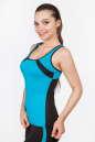 Майка для фитнеса черного с голубым цвета 2354.67 No1|интернет-магазин vvlen.com