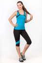 Майка для фитнеса черного с голубым цвета 2354.67 No3|интернет-магазин vvlen.com