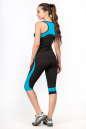 Бриджи для фитнеса черного с голубым цвета No7|интернет-магазин vvlen.com