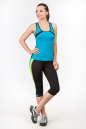 Бриджи для фитнеса черного с зеленым цвета 2361.67 No4|интернет-магазин vvlen.com