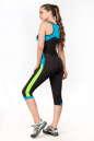 Бриджи для фитнеса черного с зеленым цвета 2361.67 No6|интернет-магазин vvlen.com