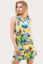 Летнее платье футляр желтого с фиолетовым цвета .1338.33 No0|интернет-магазин vvlen.com