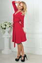 Повседневное платье с расклешённой юбкой кораллового цвета 2476.65 No3|интернет-магазин vvlen.com
