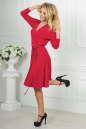 Повседневное платье с расклешённой юбкой кораллового цвета 2476.65 No4|интернет-магазин vvlen.com