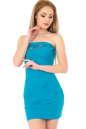 Коктейльное платье с открытой спиной морской волны цвета|интернет-магазин vvlen.com