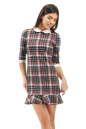Офисное платье футляр синего с красным цвета 2074.41d2 No0|интернет-магазин vvlen.com