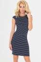 Летнее платье футляр синего с белым цвета No0|интернет-магазин vvlen.com