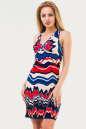 Летнее платье-комбинация синего с красным цвета No0|интернет-магазин vvlen.com