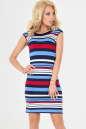 Летнее платье футляр синего с красным цвета No0|интернет-магазин vvlen.com