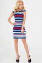 Летнее платье футляр синего с красным цвета No1|интернет-магазин vvlen.com