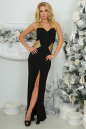 Вечернее платье с открытой спиной черного с золотистым цвета 405-1.2 No0|интернет-магазин vvlen.com