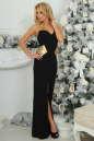 Вечернее платье с открытой спиной черного с золотистым цвета 405-1.2 No1|интернет-магазин vvlen.com