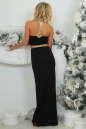 Вечернее платье с открытой спиной черного с золотистым цвета 405-1.2 No4|интернет-магазин vvlen.com