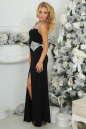 Вечернее платье с открытой спиной черного с серебристым цвета 405.2 No1|интернет-магазин vvlen.com