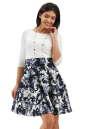 Повседневное платье с расклешённой юбкой синего с белым цвета 2281.41 No1|интернет-магазин vvlen.com