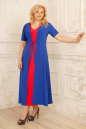 Летнее платье с расклешённой юбкой синего с красным цвета 2291.83 No2|интернет-магазин vvlen.com
