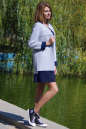 Жакет женский серого с синим цвета No1|интернет-магазин vvlen.com
