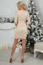 Коктейльное платье футляр бежевого цвета No2|интернет-магазин vvlen.com