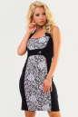 Коктейльное платье футляр черного с белым цвета No0|интернет-магазин vvlen.com