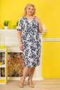 Летнее платье футляр белого с синим цвета No2|интернет-магазин vvlen.com