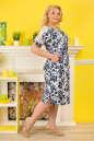 Летнее платье футляр белого с синим цвета No3|интернет-магазин vvlen.com