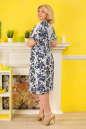 Летнее платье футляр белого с синим цвета No4|интернет-магазин vvlen.com