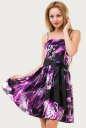 Летнее платье с расклешённой юбкой сиреневого с черным цвета No0|интернет-магазин vvlen.com