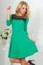 Коктейльное платье с расклешённой юбкой зеленого с черным цвета 2482.47|интернет-магазин vvlen.com