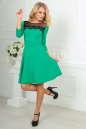 Коктейльное платье с расклешённой юбкой зеленого с черным цвета 2482.47 No1|интернет-магазин vvlen.com