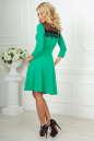 Коктейльное платье с расклешённой юбкой зеленого с черным цвета 2482.47 No3|интернет-магазин vvlen.com