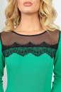 Коктейльное платье с расклешённой юбкой зеленого с черным цвета 2482.47 No4|интернет-магазин vvlen.com