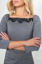 Коктейльное платье футляр серого с черным цвета No5|интернет-магазин vvlen.com