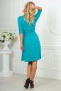 Повседневное платье с расклешённой юбкой бирюзового цвета No4|интернет-магазин vvlen.com