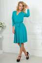 Повседневное платье с расклешённой юбкой бирюзового цвета 2476.65 No2|интернет-магазин vvlen.com