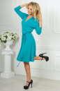 Повседневное платье с расклешённой юбкой бирюзового цвета 2476.65 No4|интернет-магазин vvlen.com