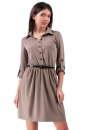 Повседневное платье с расклешённой юбкой бежевого цвета 2112.56 No0|интернет-магазин vvlen.com