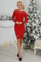 Коктейльное платье футляр красного цвета 2443.47 No1|интернет-магазин vvlen.com
