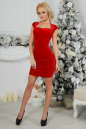 Коктейльное платье футляр красного цвета 2446.26 No1|интернет-магазин vvlen.com