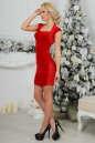 Коктейльное платье футляр красного цвета 2446.26 No3|интернет-магазин vvlen.com