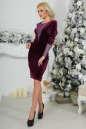Коктейльное платье футляр сиреневого с черным цвета 2438.26 No2|интернет-магазин vvlen.com