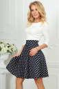 Повседневное платье с расклешённой юбкой синего с белым цвета 2281.45d5 No0|интернет-магазин vvlen.com
