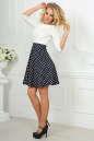 Повседневное платье с расклешённой юбкой синего с белым цвета 2281.45d5 No2|интернет-магазин vvlen.com