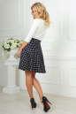 Повседневное платье с расклешённой юбкой синего с белым цвета 2281.45d5 No3|интернет-магазин vvlen.com