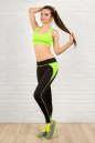 Лосины для фитнеса черного с зеленым цвета No4|интернет-магазин vvlen.com