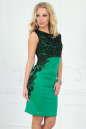 Коктейльное платье футляр зеленого с черным цвета|интернет-магазин vvlen.com
