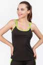 Майка для фитнеса черного с зеленым цвета 2356.67|интернет-магазин vvlen.com