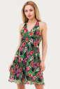Летнее платье с расклешённой юбкой зеленого с розовым цвета 1007.7 No0|интернет-магазин vvlen.com