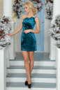 Коктейльное платье-комбинация морской волны цвета 1000.22 No1|интернет-магазин vvlen.com