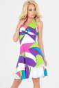 Летнее платье с расклешённой юбкой малинового с голубым цвета 447|интернет-магазин vvlen.com