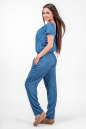 Женские брюки штапельные голубые с белым No6|интернет-магазин vvlen.com